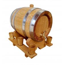 Beczka dębowa 3 L z kieliszkami drewnianymi