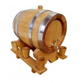 Beczka dębowa 5 L z kieliszkami drewnianymi