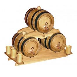 Zestaw beczek dębowych 3 szt x 2L  i  kieliszków z drewna